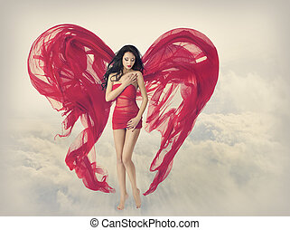 Woman  Angel Wings as Heart Shape