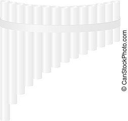 Pan flute in white design on white background