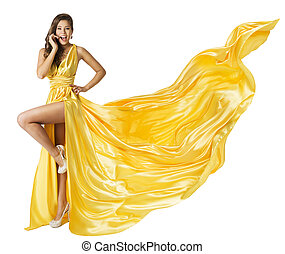 Woman Beauty Fashion Dress, Beautiful Girl In Flying Yellow