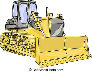 vector bulldozer - heavy yellow crawler bulldozer with...