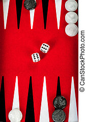 backgammon - Backgammon Red Board with Dice
