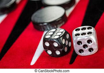 backgammon - Backgammon Red Board with Dice