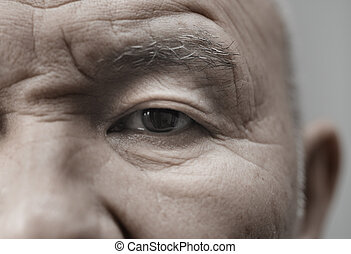 Elderly man - Face of elderly man looking at camera...