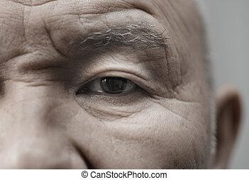 Elderly man - Face of elderly man looking at camera....