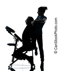 back massage therapy with chair silhouette - one man and...