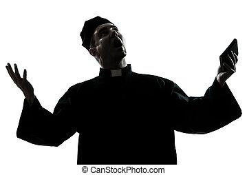 hombre, sacerdote, silueta,