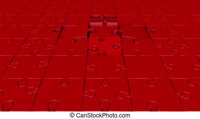 Rotating puzzle pieces in red