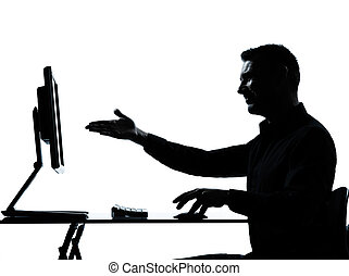 one business man silhouette computer computing showing gesture