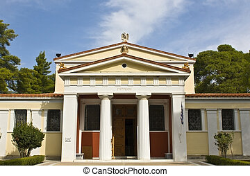 Old archaeological museum at ancient Olympia site in Greece