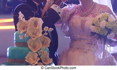 groom and bride hold bouquet drink champagne - groom and...