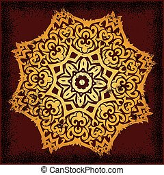 mandala - beautiful mandala on dark red background with...