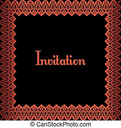 red border - invitation template with red metalic border on...