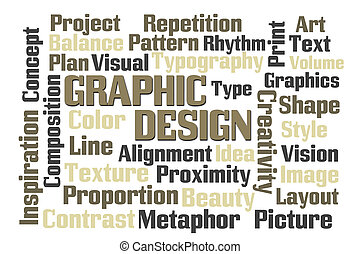 Graphic Design word cloud on white background