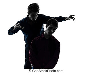 two men twin brother friends domination concept silhouette -...