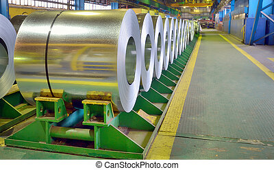 galvanized steel coils inside of plant