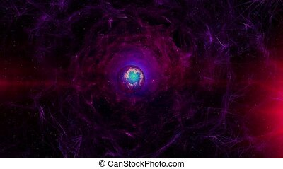 Abstract space scene in dark purple