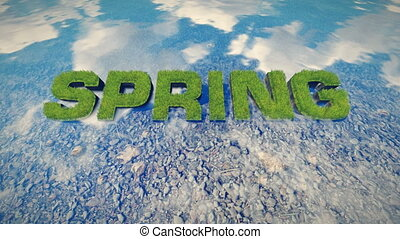 Spring text made from fresh grass among a water stream and...