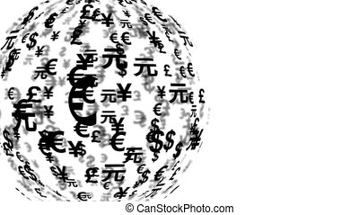 currency symbols globe rotating - 11600 A currency symbols...