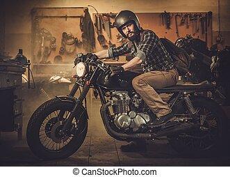 jinete, y, el suyo, vendimia, estilo, cafe-racer,...