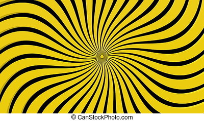 Abstract spun rays in yellow on black