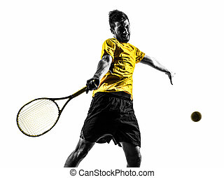 man tennis player portrait silhouette
