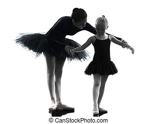 woman and little girl ballerina ballet dancer dancing...