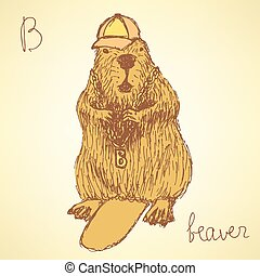 Sketch beaver hipster in vintage style, vector