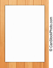 Paper on wood background - White paper on wood background