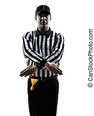 american football referee gestures penalty refused...
