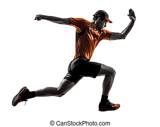 man runner jogger running jogging jumping silhouette - one...