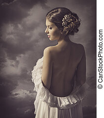 Woman retro portrait, girl back, elegant artistic vintage...