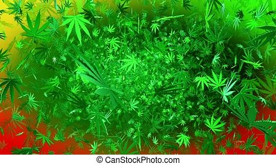 Flying cannabis leaves on a multicolor background