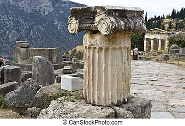 Single ionic order capital at Delphi archaeological site in Greece