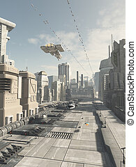 Future City Street - Science fiction illustration of a...
