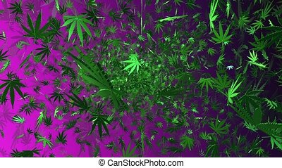 Flying cannabis leaves on a purple background