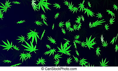 Falling cannabis leaves on dark blue