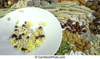 Mix Breakfast Cereal - In the bowl is poured a mixture of...