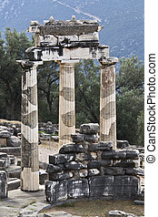 Temple of Athena pronoia at Delphi oracle archaeological...