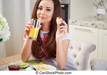 Portrait of a girl eating