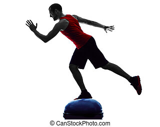 man bosu balance trainer exercises fitness silhouette - one...