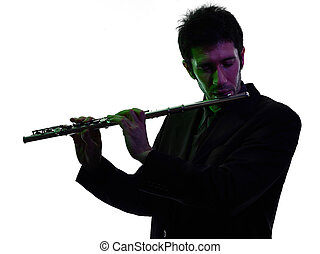 man playing traverse flute player silhouette - one caucasian...