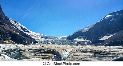 Athabasca Glacier - Receding Athabasca Glacier in Jasper...