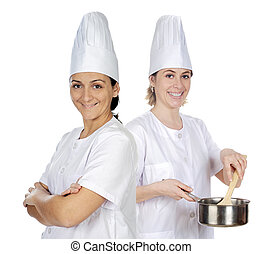 Women chefs on a over a white background