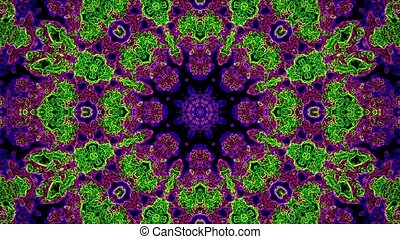 Abstract mosaic in purple,green and blue