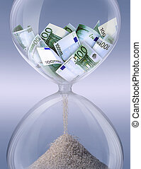 Time is money - Hourglass filled with bills of 100 euros...