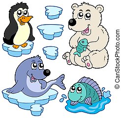 Arctic animals collection - isolated illustration.