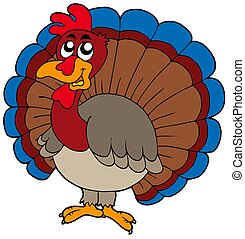 Cartoon turkey on white background - isolated illustration.