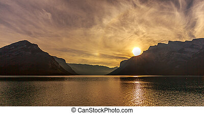 Lake Minnewanka at Sunrise - Sunrise at Lake Minnewanka near...