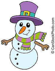 Cute cartoon snowman - isolated illustration.