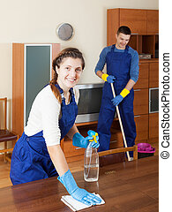 Cleaning team is ready to work